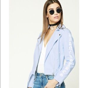 New Baby Blue Graphic Moto Leather Jacket S